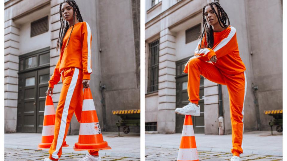 Damski komplet dresowy z bluzą w kolorze pomarańczowym