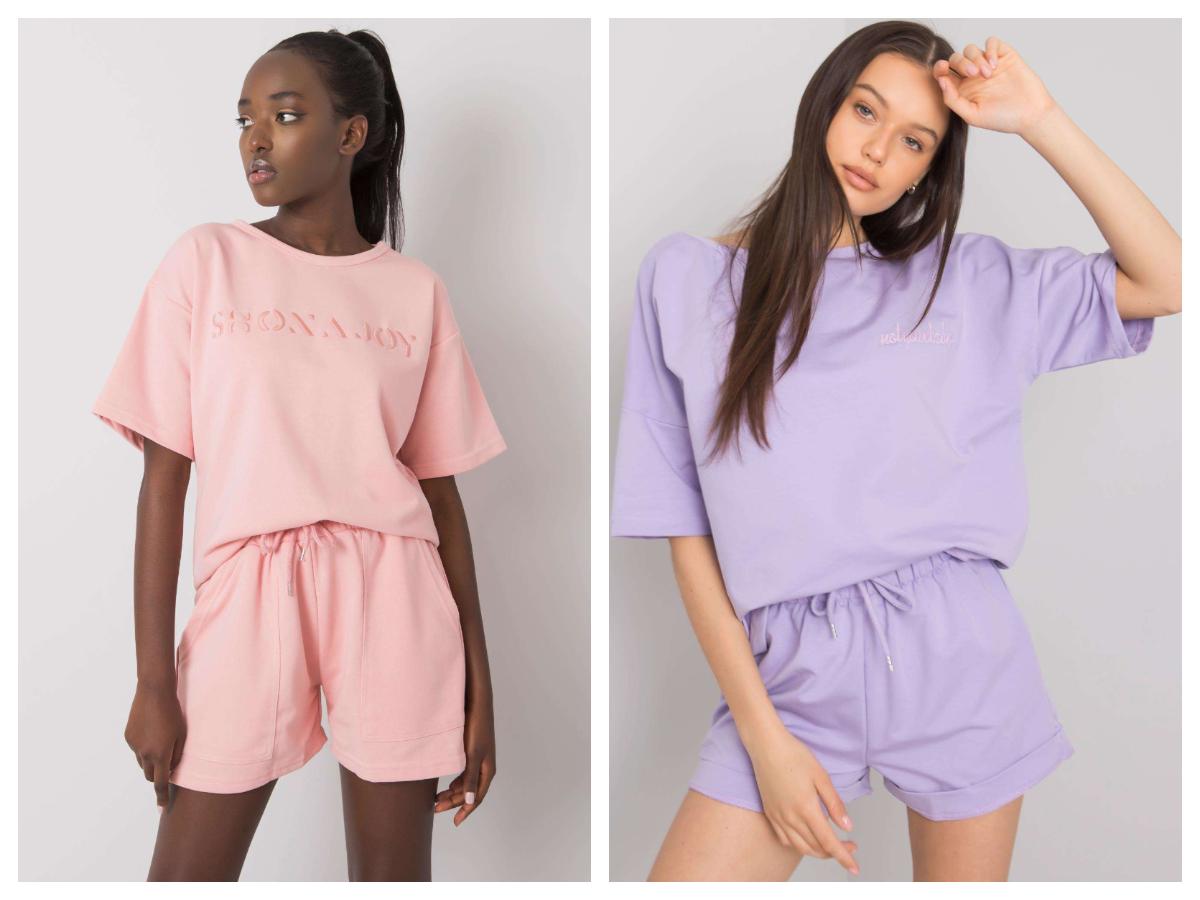 Bluzy z krótkim rękawem w komplecie ze spodenkami w pastelowych kolorach