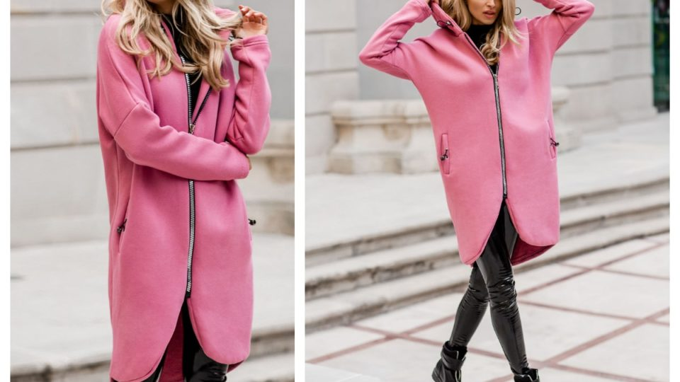 Długa rozpinana bluza z kapturem w kolorze różowym